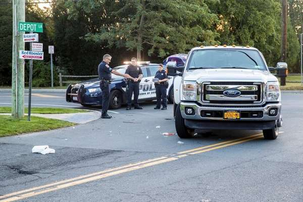 A Ford pickup struck a woman shortly before