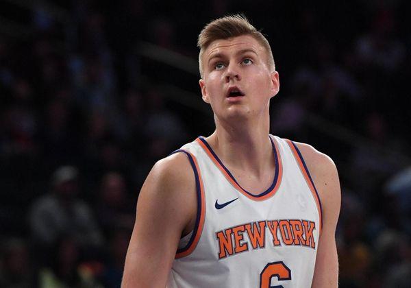 Knicks forward Kristaps Porzingis watches a foul shot