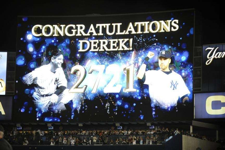 The Yankee Stadium video screen honors Derek Jeter
