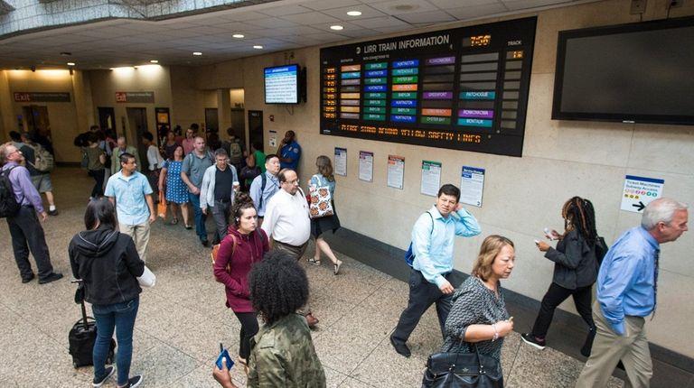 Morning commuters at Atlantic Terminal on Flatbush Avenue
