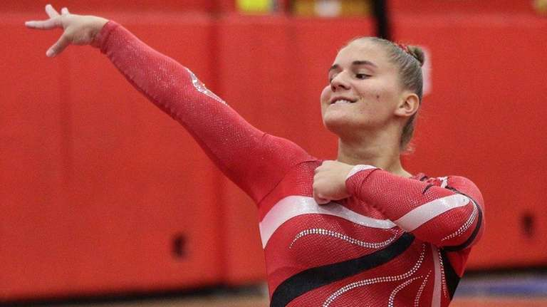 Connetquot's Alexis Smith finishes her floor routine during