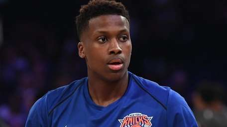 Knicks guard Frank Ntilikina during warmups against the Brooklyn