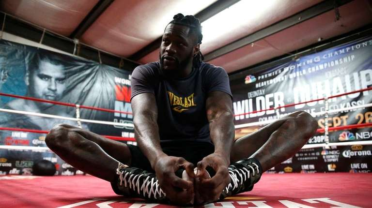 Deontay Wilder works out for the media in
