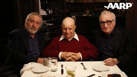 Don Rickles flanked by Robert De Niro, left,