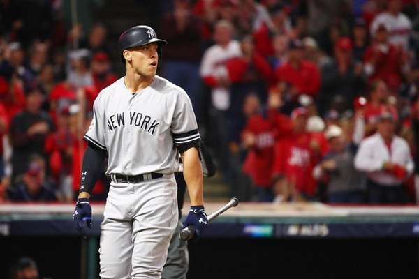 Aaron Judge of the New York Yankees reacts