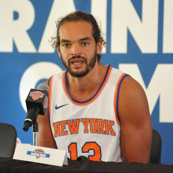 Joakim Noah of the Knicks speaks during the