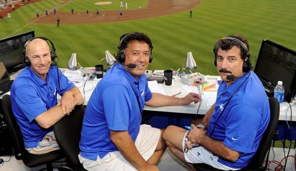 SNY Mets broadcasters Gary Cohen, Ron Darling, and