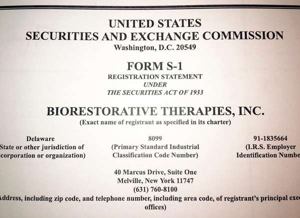 BioRestorative Therapies of Melville recently registered with the
