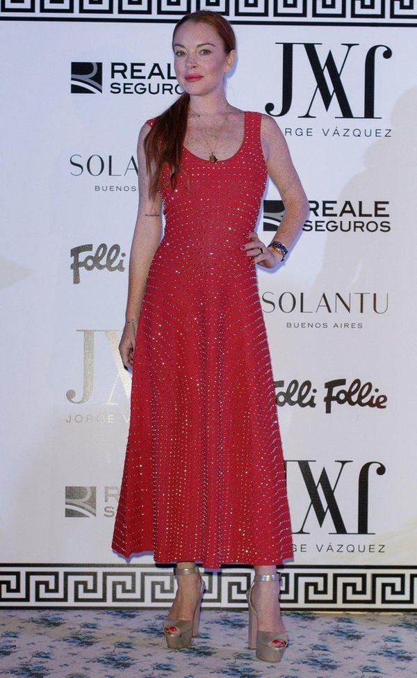 Lindsay Lohan attends the Jorge Vazquez show during
