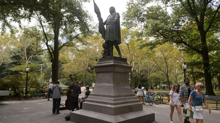 The Christopher Columbus statue in Central Park was