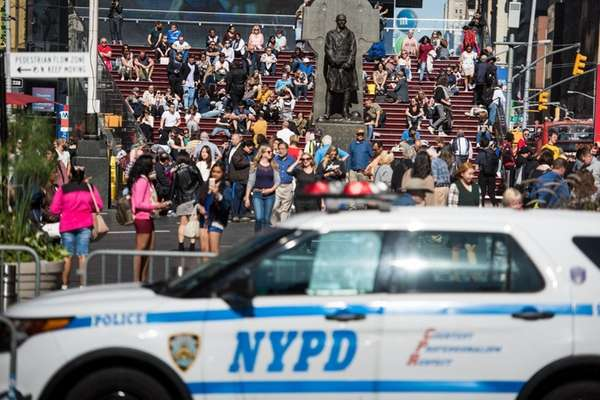 Police stationed in Times Square. Security in Times