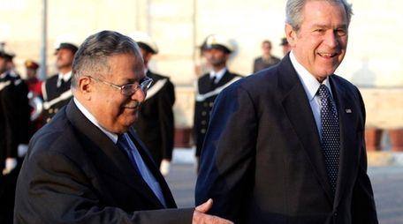 Iraqi President Jalal Talabani with President George W.