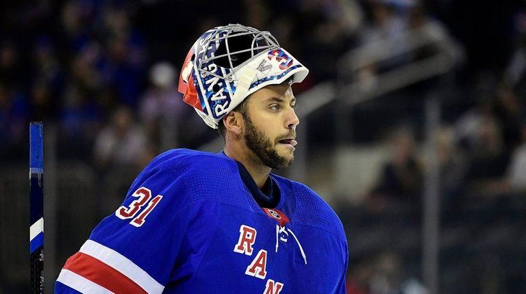 Ondrej Pavelec of the New York Rangers skates