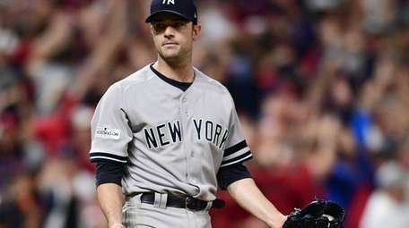 New York Yankees relief pitcher David Robertson looks