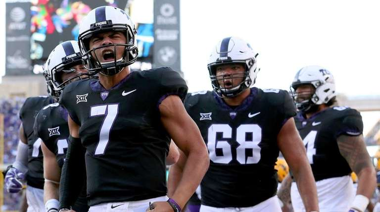 Kenny Hill of the TCU Horned Frogs celebrates