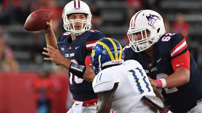 Stony Brook quarterback Joe Carbone was 23-for-36 for