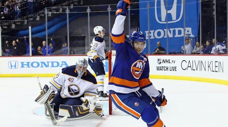 John Tavares of the New York Islanders scores