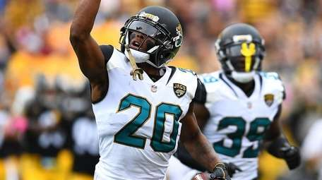 Jalen Ramsey of the Jaguars reacts after intercepting