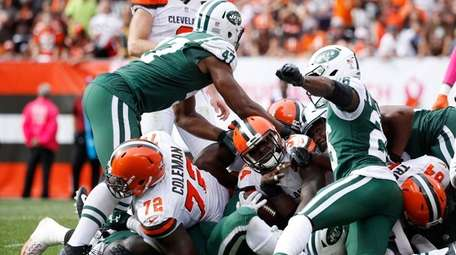 Isaiah Crowell of the Browns gets stopped on