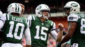 Josh McCown of the Jets celebrates a touchdown in