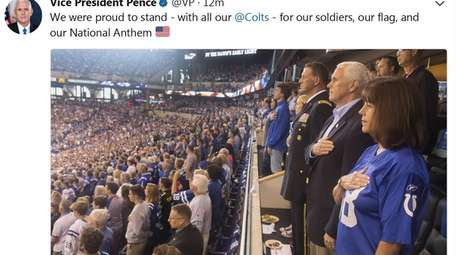 Vice-President Mike Pence tweeted on Sunday, Oct. 8,