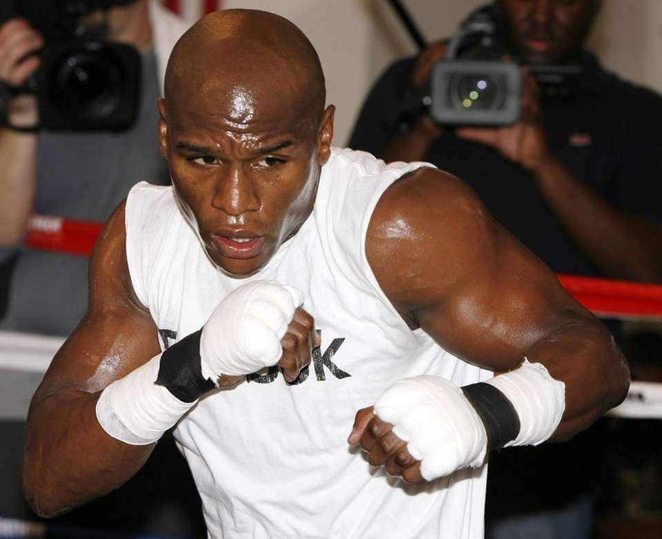 Floyd Mayweather Jr. works out at his gym.