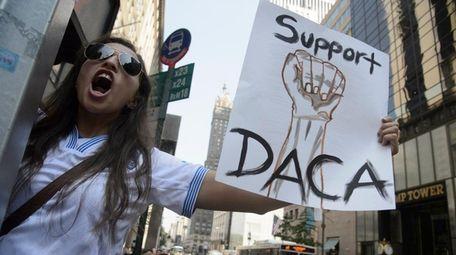 Dayana Arrue demonstrates at Trump Tower in Manhattan