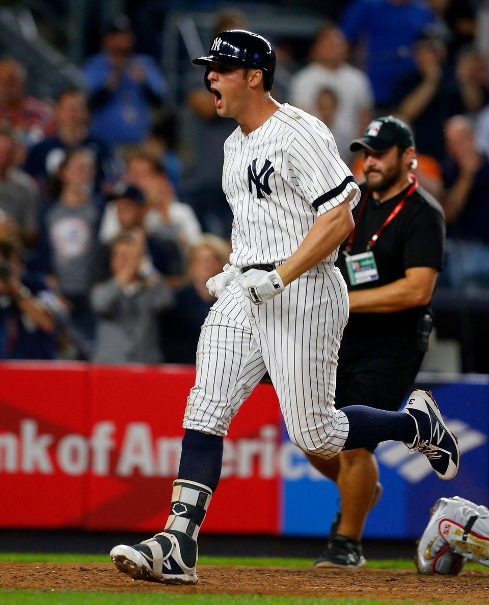 Greg Bird of the New York Yankees reacts