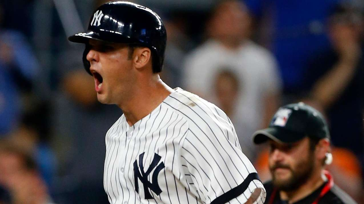 Greg Bird of the New York Yankees reacts