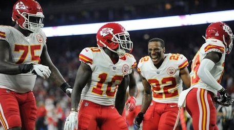 Kansas City Chiefs' Tyreek Hill celebrates his touchdown