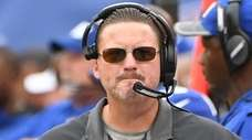New York Giants coach Ben McAdoo looks on