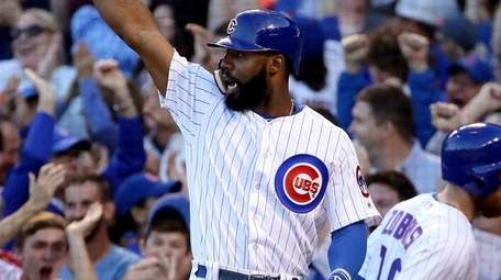 Jason Heyward of the Chicago Cubs celebrates after