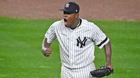 New York Yankees pitcher Luis Severino reacts in