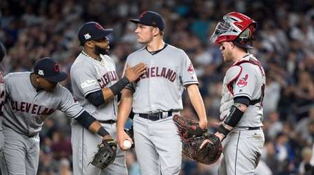Cleveland Indians' position players giving their starting pitcher