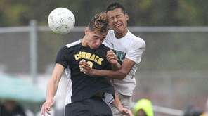 Commack's Matt Rose and Brentwood's Brian Alvarado play