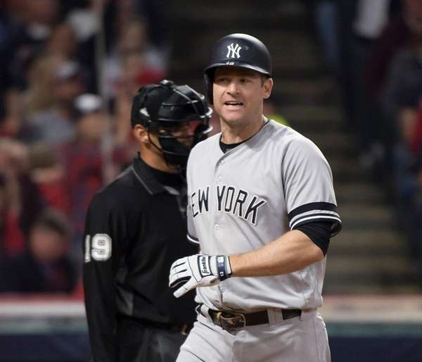 Yankees' Chase Headley reacts after striking out against