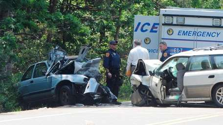 Police at the scene of a fatal crash