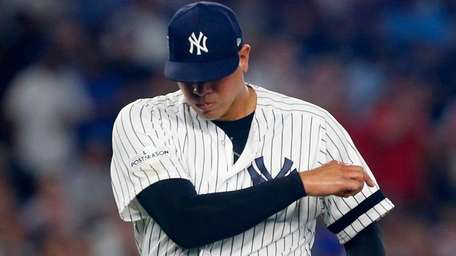 Dellin Betances of the Yankees reacts during the eighth inning