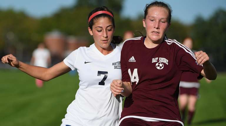 Northport forward Victoria Colatosti and Bay Shore defender