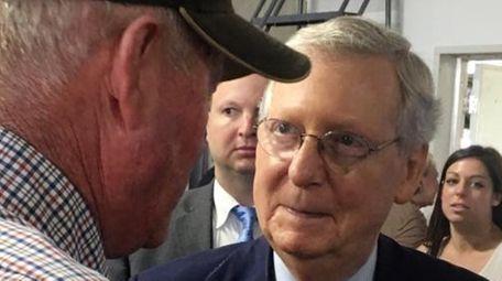 Kentucky farmer Mike Bach talks to Senate Majority