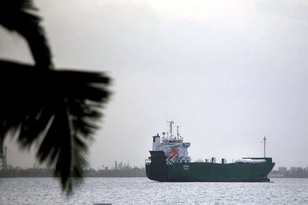 A cargo ship travels last month near San