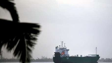 A cargo ship travels last month near San