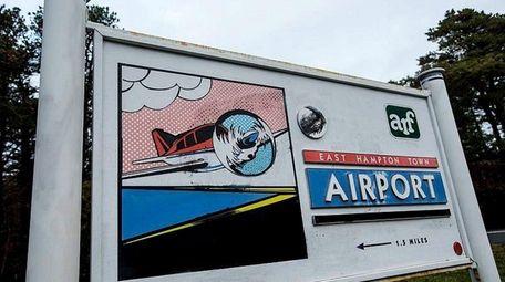 The East Hampton Airport signage in East Hampton,