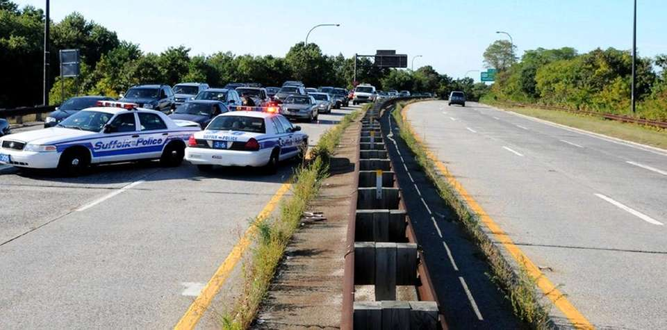 Police close off all northbound lanes of the
