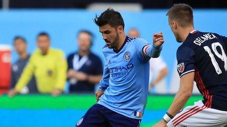NYC FC's David Villa takes a shot past