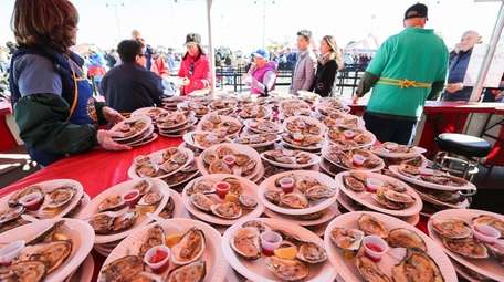 Oysters are are plated for sale at the