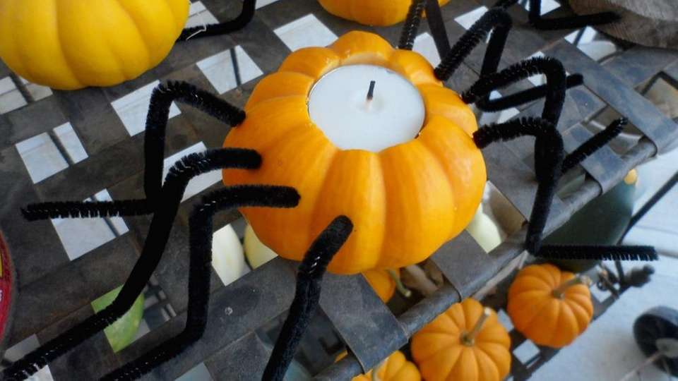Mini Pumpkin Spider Candle Holders are an easy-to-do