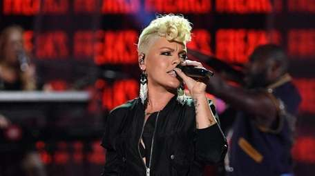 Pink performs at the iHeartRadio Music Festival in