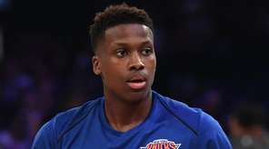 Knicks guard Frank Ntilikina looks on during warmups