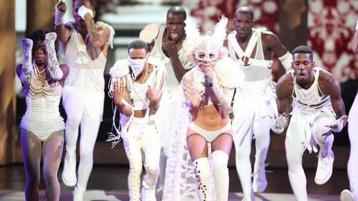 Lady Gaga perfoms during the 2009 MTV Video